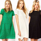 Women Dress Casual Short Sleeve Lace Cocktail Party Evening Loose Mini одежда
