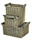 New Driftwood Wash Wicker Storage Display Kitchen Basket with Wooden Handles