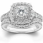 1.70 cttw Double Halo Vintage Style Engagement Wedding Ring Set 14K White Gold