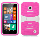 For Nokia Lumia 635 Hard Gel Rubber KICKSTAND Case Phone Cover Accessory