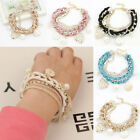Gold Chain Crystal Heart Pearl Pendants Rope Crystal Multilayer Charms Bracelet