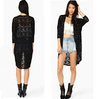 Women Lace Sheer Sleeve Floral Crochet Loose long Cardigan Tee Top Blouse hollow