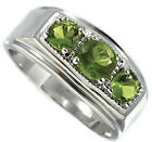 Three Peridot Green Round Stones Silver Rhodium EP Mens Ring New