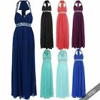 Womens Diamante Chiffon Halter Neck Maxi Dress Bridesmaid Gown Party Evening