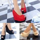 Fashion Sexy Womens Lace Wedges Heel Sandals Platform Sole Heeled Shoes Pumps