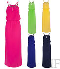 NEW WOMENS LADIES NECKLACE DETAIL TIE WAIST STRAPPY MAXI DRESS (SIZES 8-14)