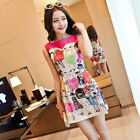 2014 spring Korean fashion printed round neck sleeveless vest dress