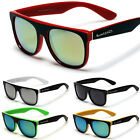 Flat Top Round Wayfarer Style Men Sunglasses Mirror Lens Glasses Black White Red