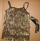 NWOT pleated ruffled gold camisole top Dance costume