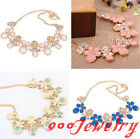 Chic Cat Paw Flower Gem Crystal Bib Statement Collar Choker Necklace Chain