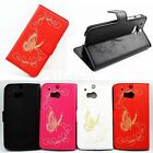 Hot Butterfly Skin Wallet Card Leather Protective Flip Cover Case For HTC ONE M8
