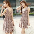 Sexy Ladies Fashion Summer Floral Dress, Casual Dress Sleeveless Mini Dress CB