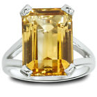 8.00CT Emerald Genuine Citrine HUGE Solitaire Ring Sterling Silver