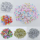 50 pcs 6mm Acrylic Mixed Alphabet Letter Square Cube Spacer Beads Big Hole Pick