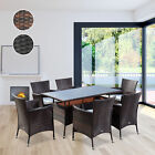 Rattan Wicker Garden Furniture Cube Dining Set Patio Rectangular Table 6 Chairs