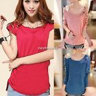 Sexy Women Irregular Tops Loose Blouse Casual T-Shirt Crew-Neck Short Sleeve New