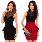 Ladies Sexy Floral Lace Sleeveless Peplum Cocktail Mini Dress Party Club Wear
