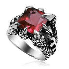 Stainless Steel Shrill Claw Red Crystal Gem Men's Fashion Ring Size 7—12
