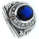 Army Montana Blue US Military .925 Sterling Silver Mens Ring