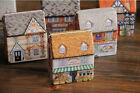 Mini Vintage Full Painted  House Tinplate Coin Bag Storage Tin Box Jewelry Case