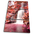 Landscapes Waterfall Forest Red TREBLE CANVAS WALL ART Picture Print VA