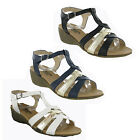 Natures Own Small Wedge Buckle Fashion Womens Summer Sandals Shoes Size 3-8