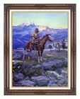 Framed Western Free Trappers Charles M Russell Painting Reproduction Art Print
