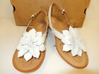 """NEW BORN KALANI 1"""" WHITE LEATHER THONG SANDALS W/ CUTE FLOWER AND ADJ. STRAP"""