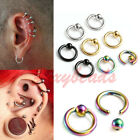 2P 16G Colors Stainless Steel Tragus Helix Hoop Ring Ear Stud Earring Piercing