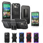 Belt Clip Holster Rugged Hard Shell Kickstand Cover Case+LCD For HTC One (M8)