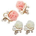 Women Girls Rose Flower Fashion Crystal Rhinestone Faux Pearl Stud Earrings gift