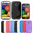 Slim Flexible TPU Gel Skin Cover Case+Clear Screen Protector For Motorola Moto E