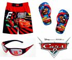 DISNEY CARS McQUEEN Toddlers Swim Suit Trunks w/Optional Flip Flops & Sunglasses