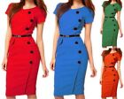 Womens Button Office OL Pencil Midi Dress Short Sleeve Party Evening Bodycon New