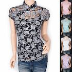 Beautiful Floral Sheer Sparkles Mandarin Collar Cap Sleeves Top Blouse
