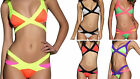 Ladies Neon Fashion Bandage Wrap Padded Bikini Swimsuit Cut Out 6 8 10 12 14 New