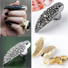 Retro Punk Rock Crystal Rhinestone Claw Ring Nail Paw Talon Finger Goth Full Tip