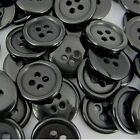 10/20pcs Classic Retro Black Round Resin 4 Hole Coat Sewing Buttons Suit 10~25mm