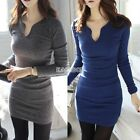 Hot Women Sexy long sleeve V neck Party Cocktail Evening Clubwear Hip Mini dress