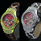 White Brown Leather Crystal Gemstone Leopard Decorated Ladies Womens Wrist Watch