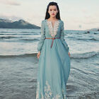 new elegant lady vintage embroidery lace blue full length party dress