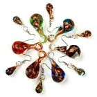 Foil Murano Lampwork Glass Swirl Art Teardrop Hook Pendant Earring 1 Set Gift