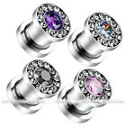 Piercing Cubic Zircon Crystal Beads Screw Ear Flesh Tunnels Plugs Expander Gauge