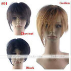 Korean Men Women Short Bobhaircut Flat Tilted Frisette Bands Straight Hair Wigs