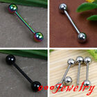10pc Stainless Steel Ball Bead Tongue Ring Barbell Bar Stud Body Piercing