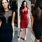 Womens Mesh perspective Open Back Plunge Bodycon Stretch Party Pencil Dress D566