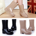 Lady's Fashion Casual Rivet Rain Boots waterproof shoes New Rubber Shoes XP0004