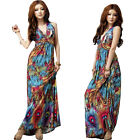 Summer Boho Sexy Women Paisley Halter V-Neck Long Maxi Evening Party Beach Dress