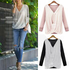 New Style Stitching Knit Chiffon Fashion Shirt Women Long Sleeve V-neck Blouse
