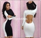 Sexy Women Long Sleeve Backless Knee Length Bodycon Clubwear pencil Dress  D467